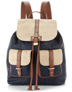 navy and taupe rucksack